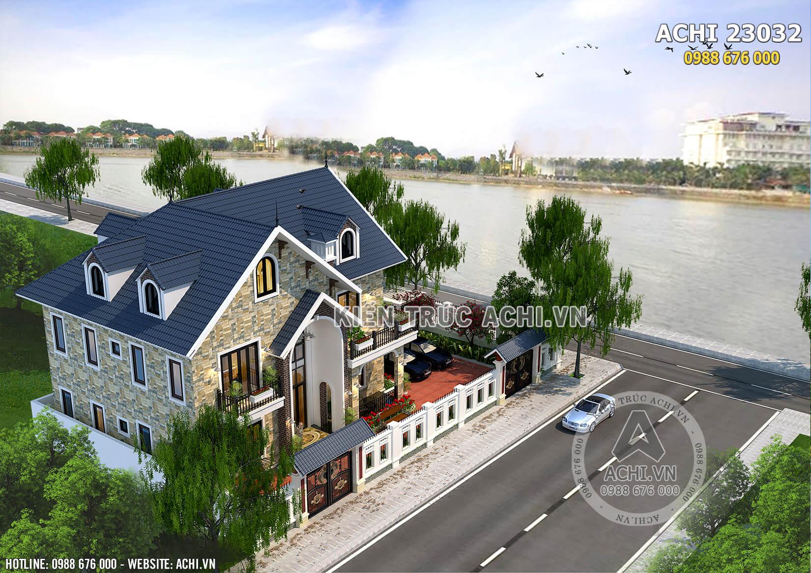 Phối cảnh 3D của mẫu biệt thự nhà vườn 2 tầng mái Thái đẹp khi được nhìn từ trên cao xuống