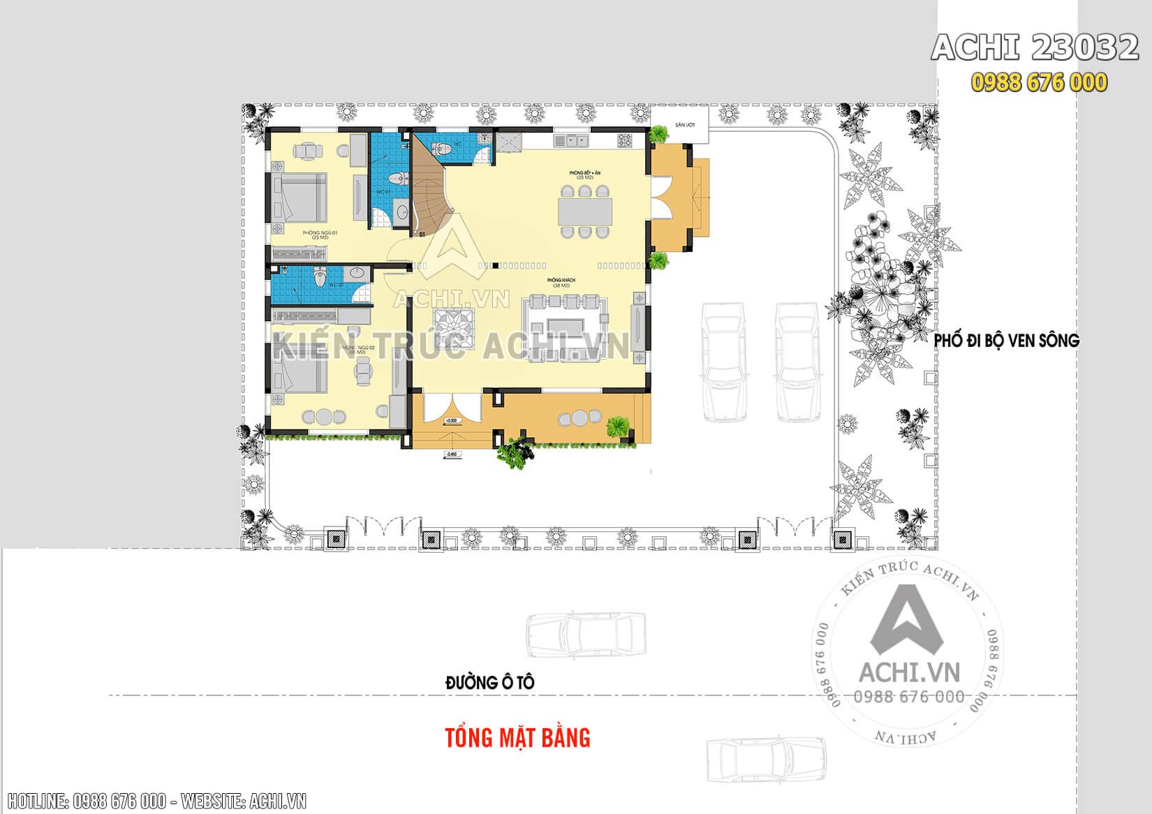 Tổng mặt bằng của mẫu biệt thự nhà vườn 2 tầng mái thái
