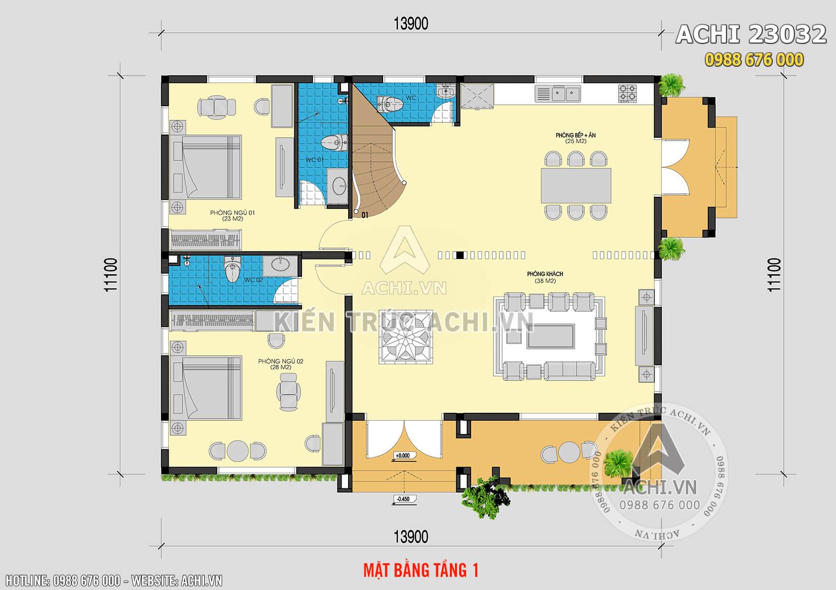 Mặt bằng tầng 1 của mẫu biệt thự nhà vườn 2 tầng mái thái