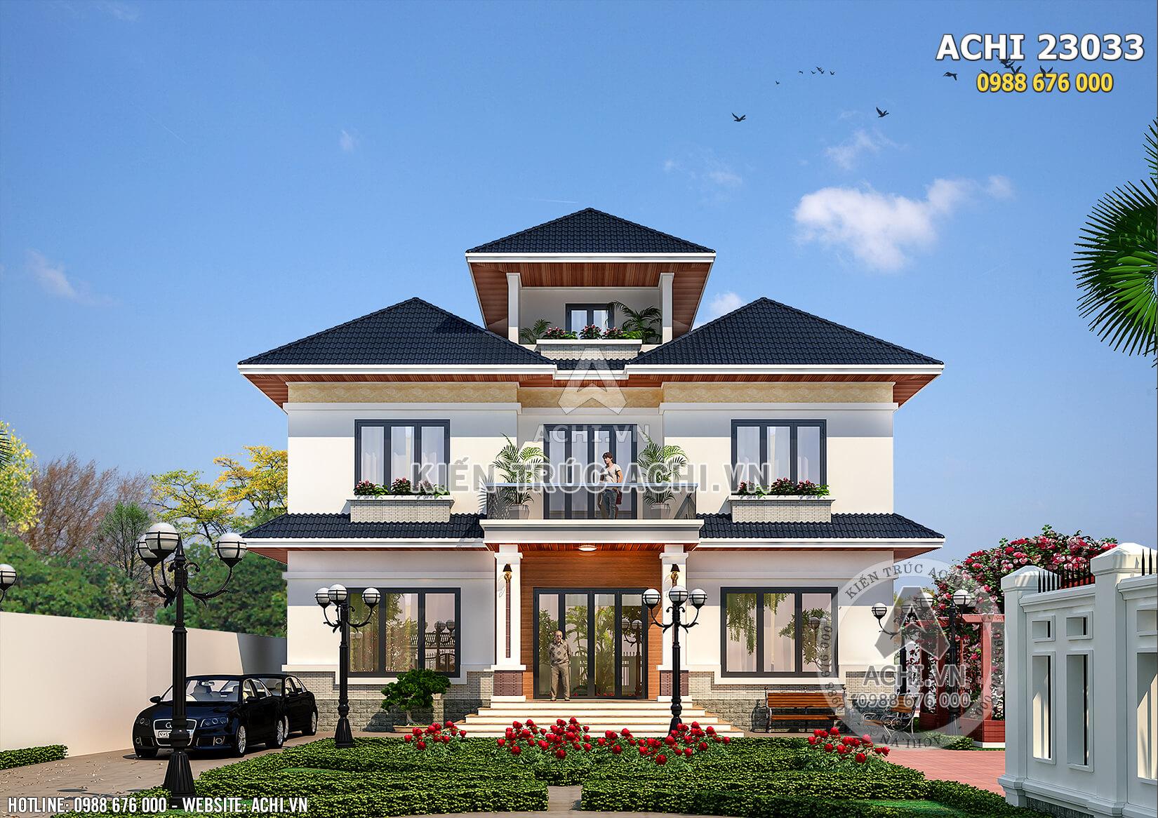 Không gian mặt tiền của mẫu biệt thự nhà vườn 2,5 tầng mái thái đẹp tại Hà Nội – Mã số: Achi23033
