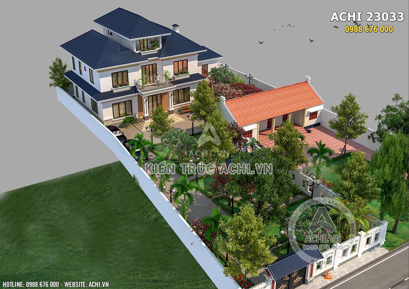 Phối cảnh toàn thể mẫu biệt thự nhà vườn 2.5 tầng đẹp tại Hà Nội – Mã số: Achi23033