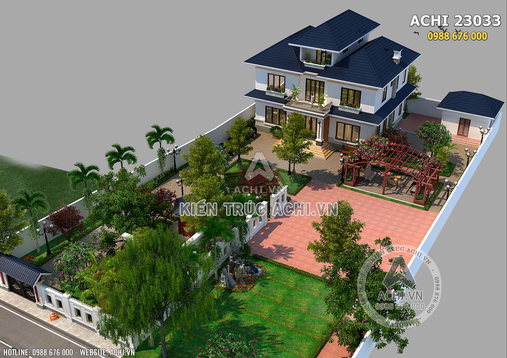 Không gian sân vườn làm điểm nhấn cho kiến trúc mẫu biệt thự nhà vườn mái Thái ở Hà Nội thêm ấn tượng