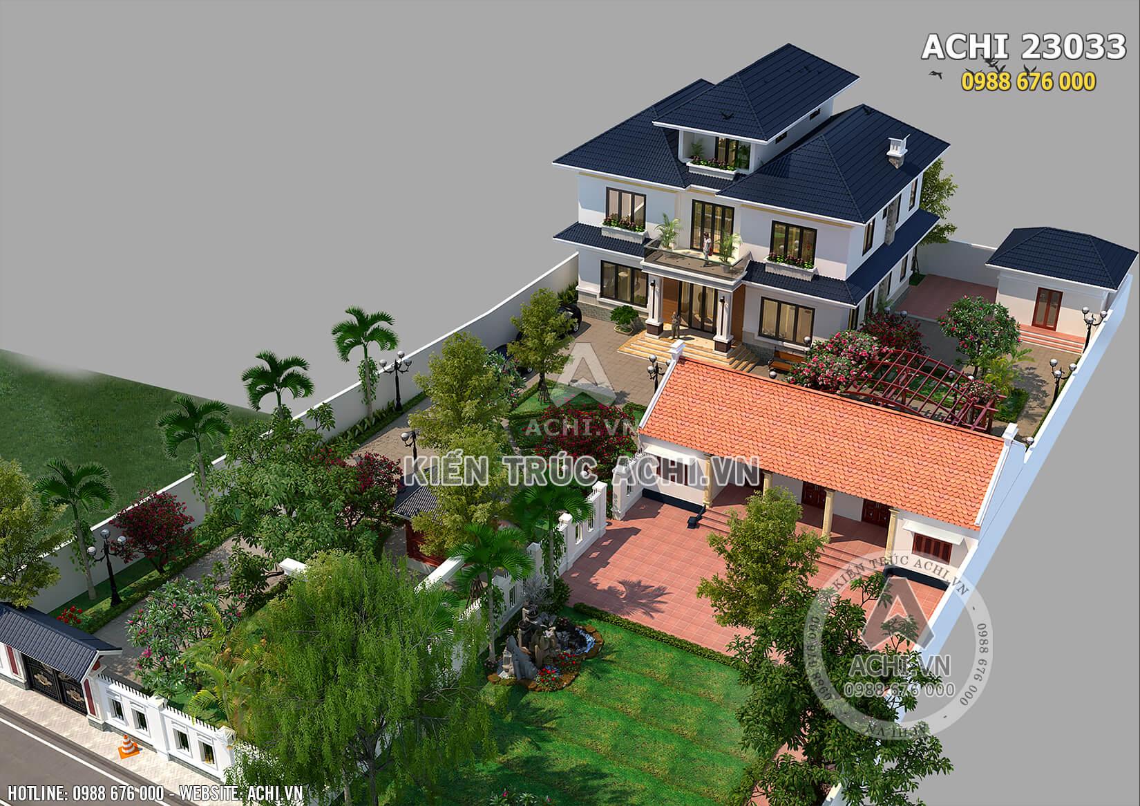Toàn cảnh mẫu biệt thự nhà vườn 2,5 tầng mái thái đẹp tại Hà Nội nhìn từ trên cao xuống