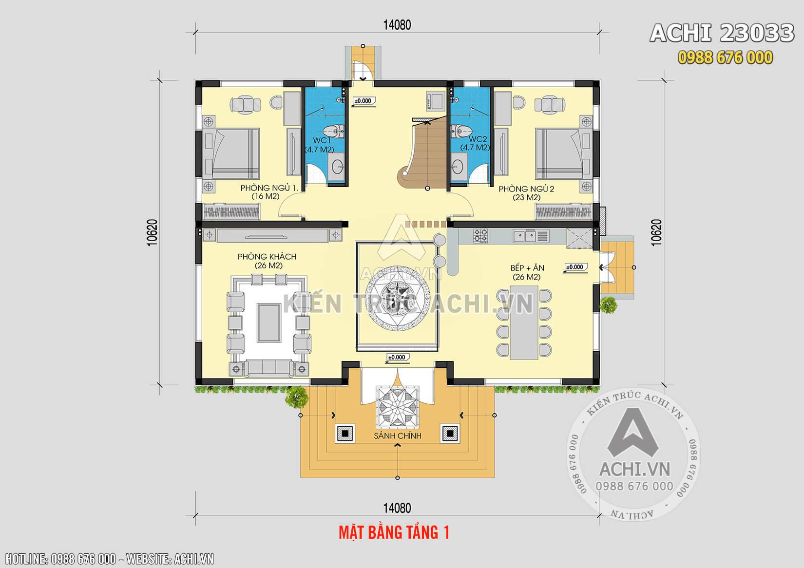 Mặt bằng bố trí công năng mẫu nhà 2,5 tầng đẹp tại Hà Nội