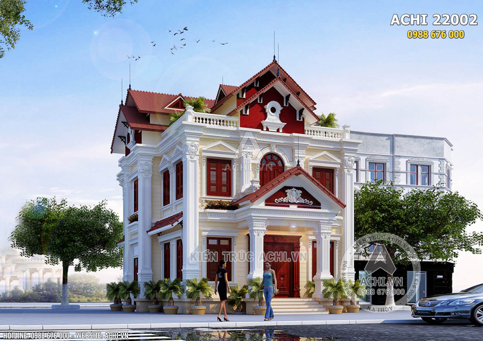Phối cảnh tổng thể của mẫu biệt thự kiến trúc Pháp 2 tầng đẹp - Mã số: AChi22002