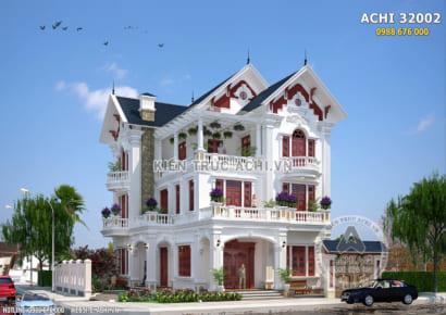 Phối cảnh mặt tiền của mẫu biệt thự mái thái 3 tầng đẹp kiến trúc Pháp tại Nam Định - Mã số: ACHI32002
