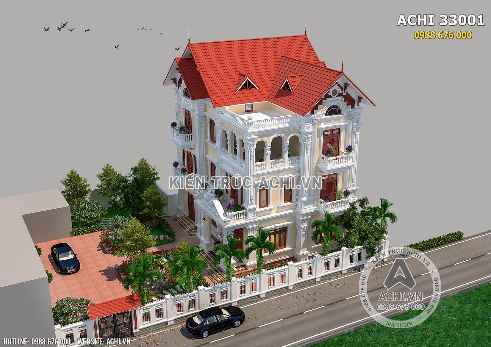 Mẫu biệt thự 3 tầng kiểu Pháp được nhìn từ trên cao xuống