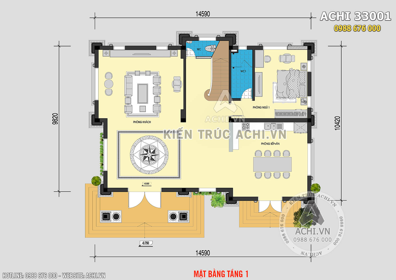 Mặt bằng tầng 1 của mẫu thiết kế 3 kiến trúc Pháp