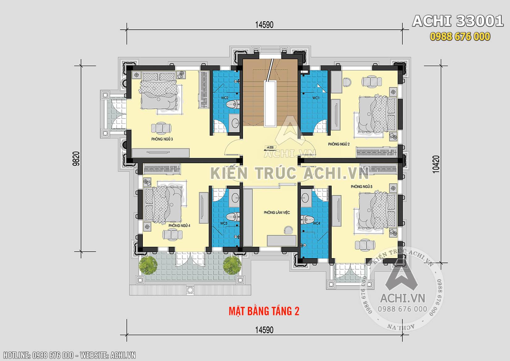 Mặt bằng tầng 2 của mẫu thiết kế 3 kiến trúc Pháp