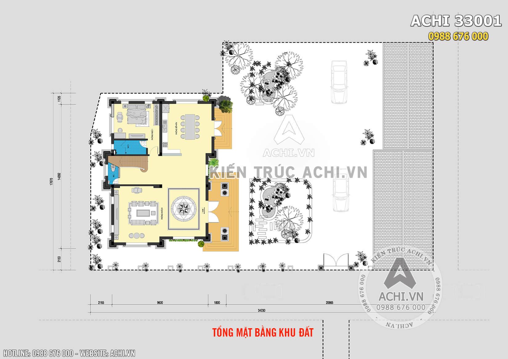 Tổng mặt bằng của mẫu thiết kế 3 kiến trúc Pháp
