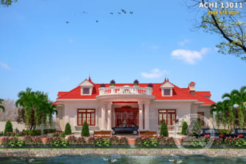 Biệt thự nhà vườn mái thái 1 tầng tại Vĩnh Phúc – ACHI 13011
