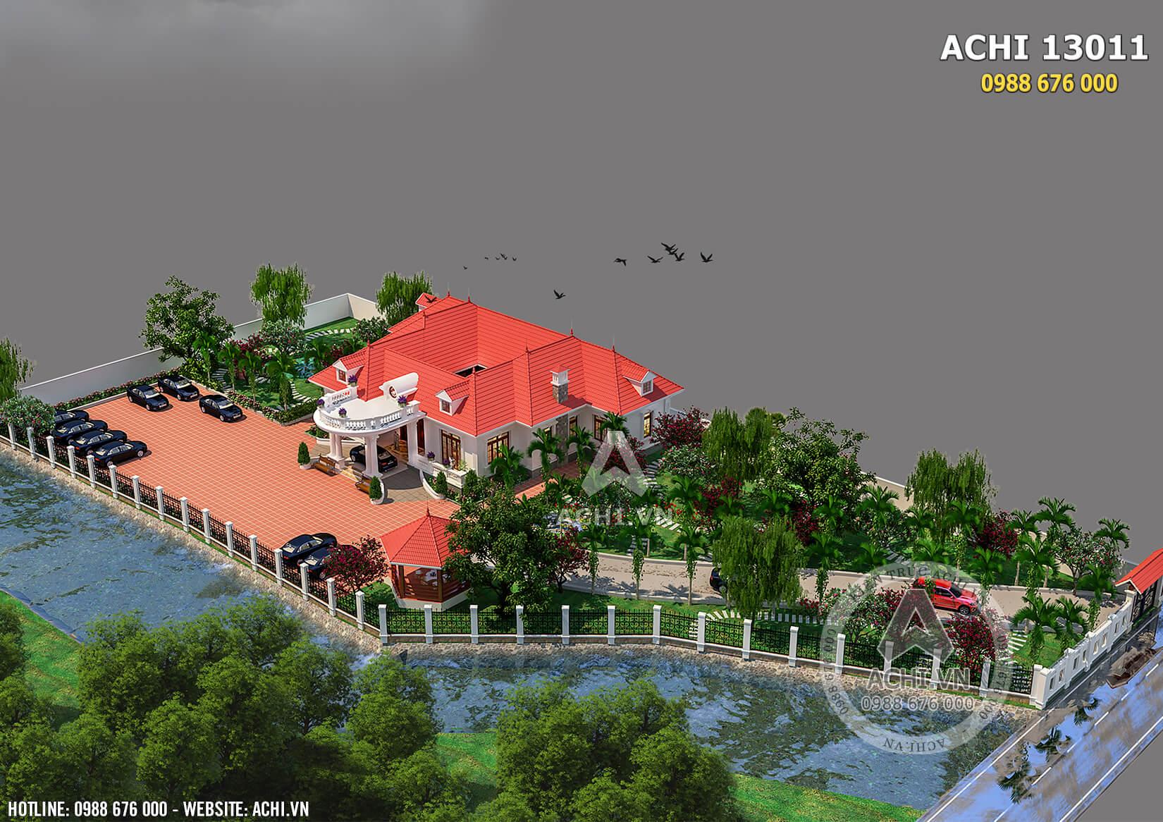 Mẫu thiết kế biệt thự nhà vườn đẹp mái thái 1 tầng nhìn từ trên cao