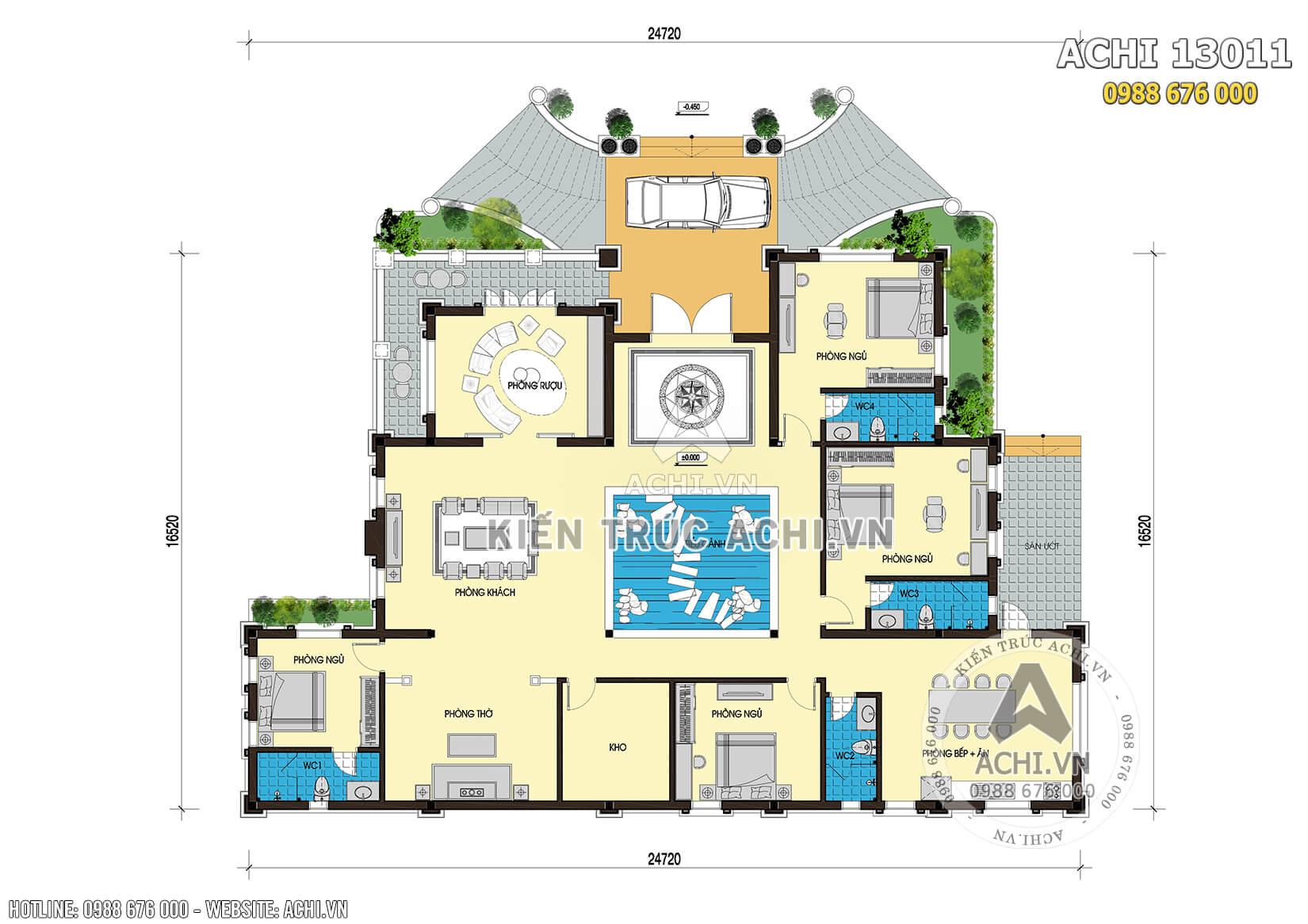 Mặt bằng công năng của mẫu thiết kế biệt thự nhà vườn mái thái 1 tầng