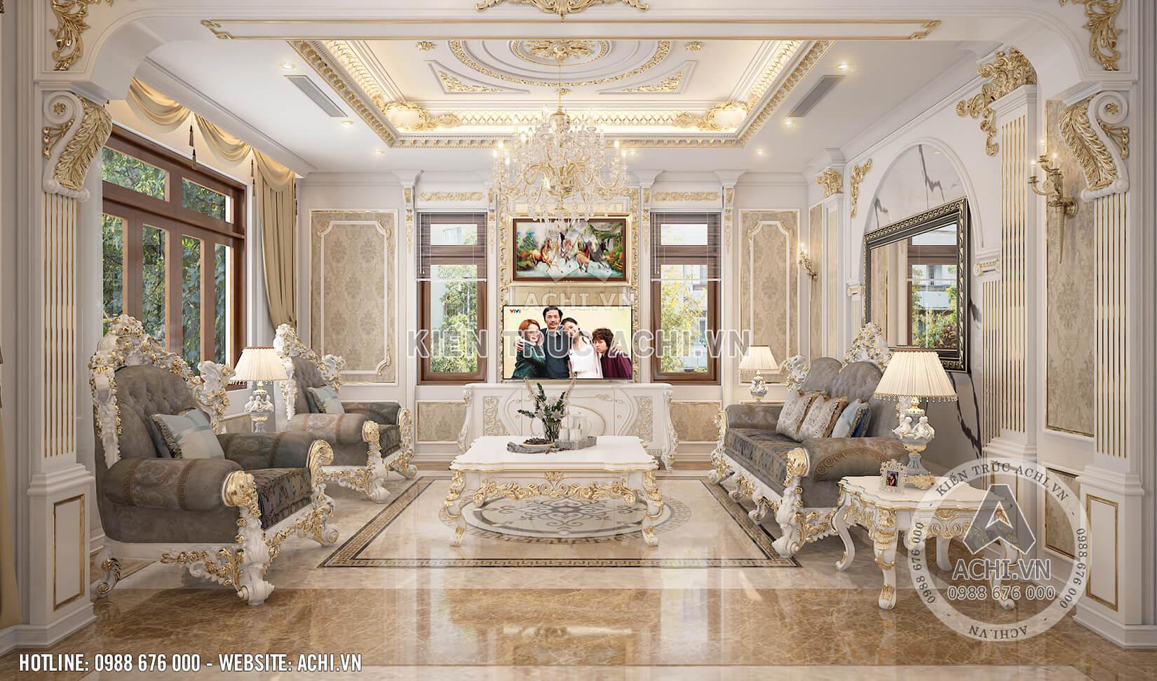 Nội thất biệt thự tân cổ điển đẹp cho phòng khách