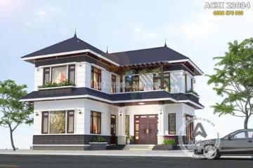 Mẫu nhà 2 tầng chữ L mái thái đẹp 80m2 – ACHI 23034
