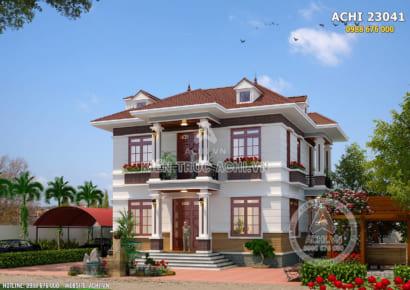 Mặt tiền mẫu thiết kế nhà vuông 2 tầng mái thái đẹp tại Hưng Yên