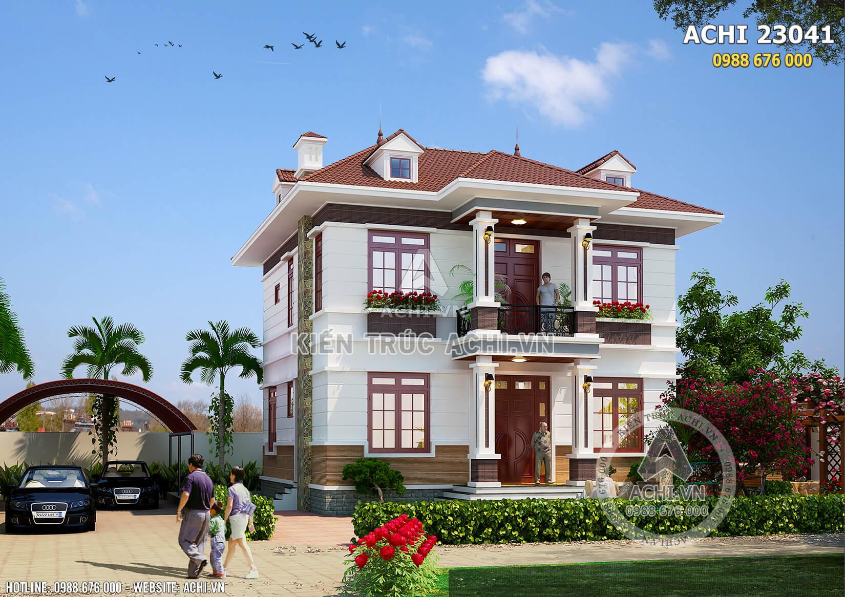 Một góc nhìn của mẫu thiết kế nhà vuông 2 tầng mái thái đẹp tại Hưng Yên