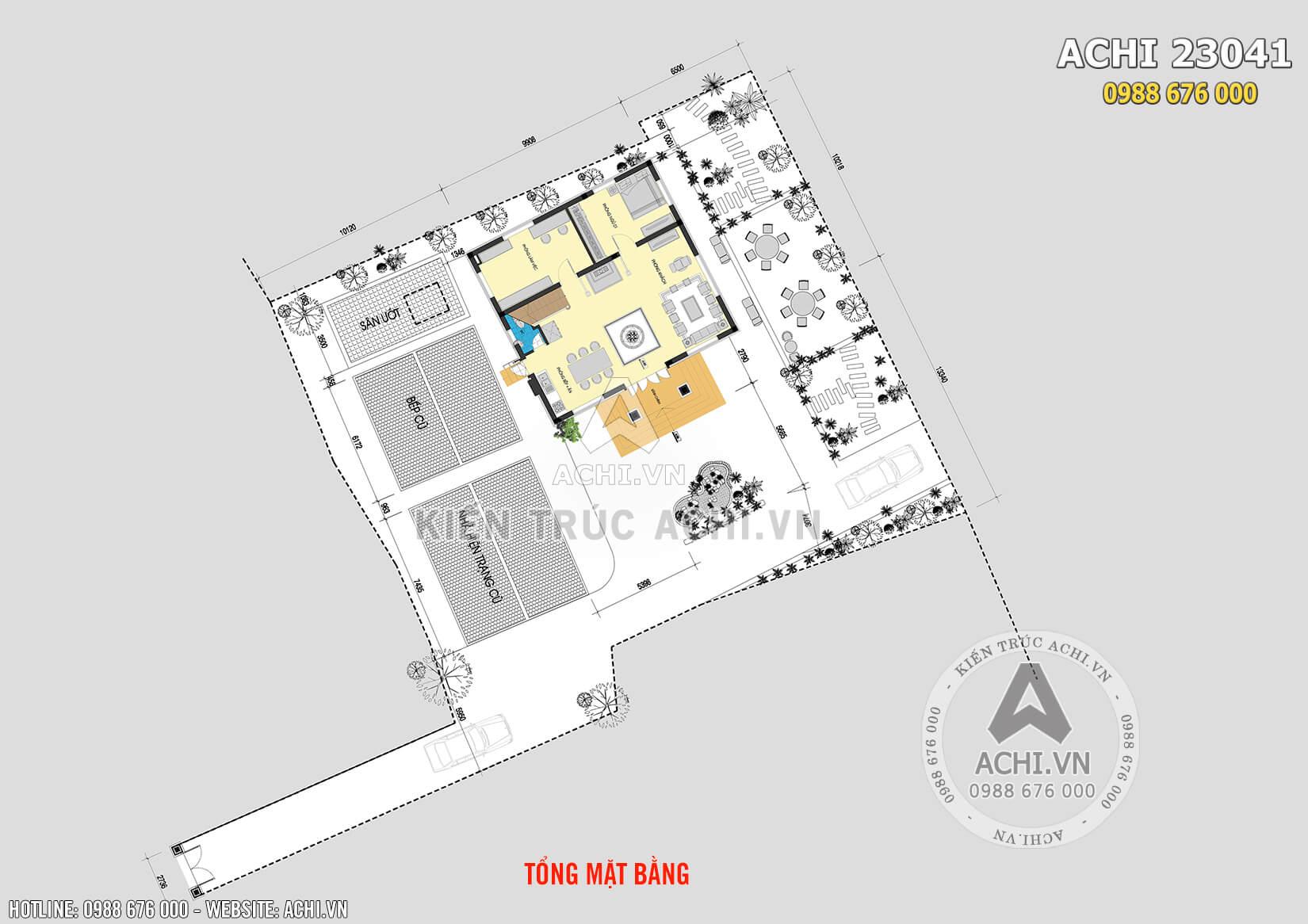 Mặt bằng tổng thể của mẫu nhà vuông 2 tầng mái thái đẹp tại Hưng Yên