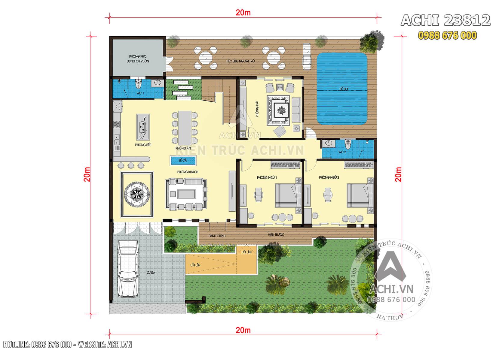 Tổng mặt bằng của mẫu biệt thự 2 tầng hiện đại