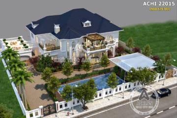 Thiết kế biệt thự 2 tầng tân cổ điển đẹp hút hồn – Mã số: AChi 22015