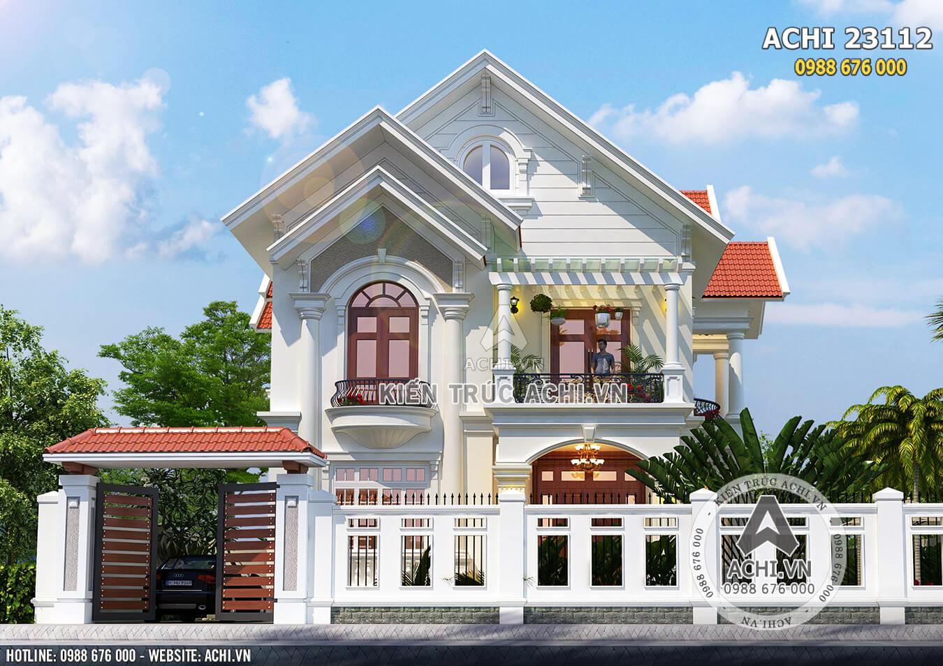 Mặt tiền lôi cuốn của mẫu biệt thự mái Thái 2 tầng đẹp - Mã số: ACHI 23112