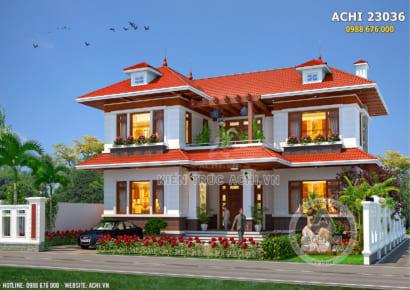 Không gian mặt tiền của mẫu nhà mái Thái 2 tầng đẹp