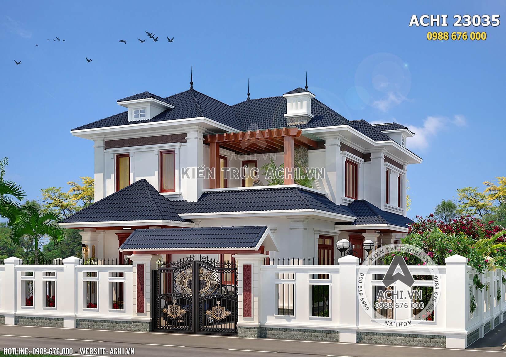 Không gian mặt tiền của mẫu biệt thự mái Thái 2 tầng tân cổ điển - Mã số: AChi 23035