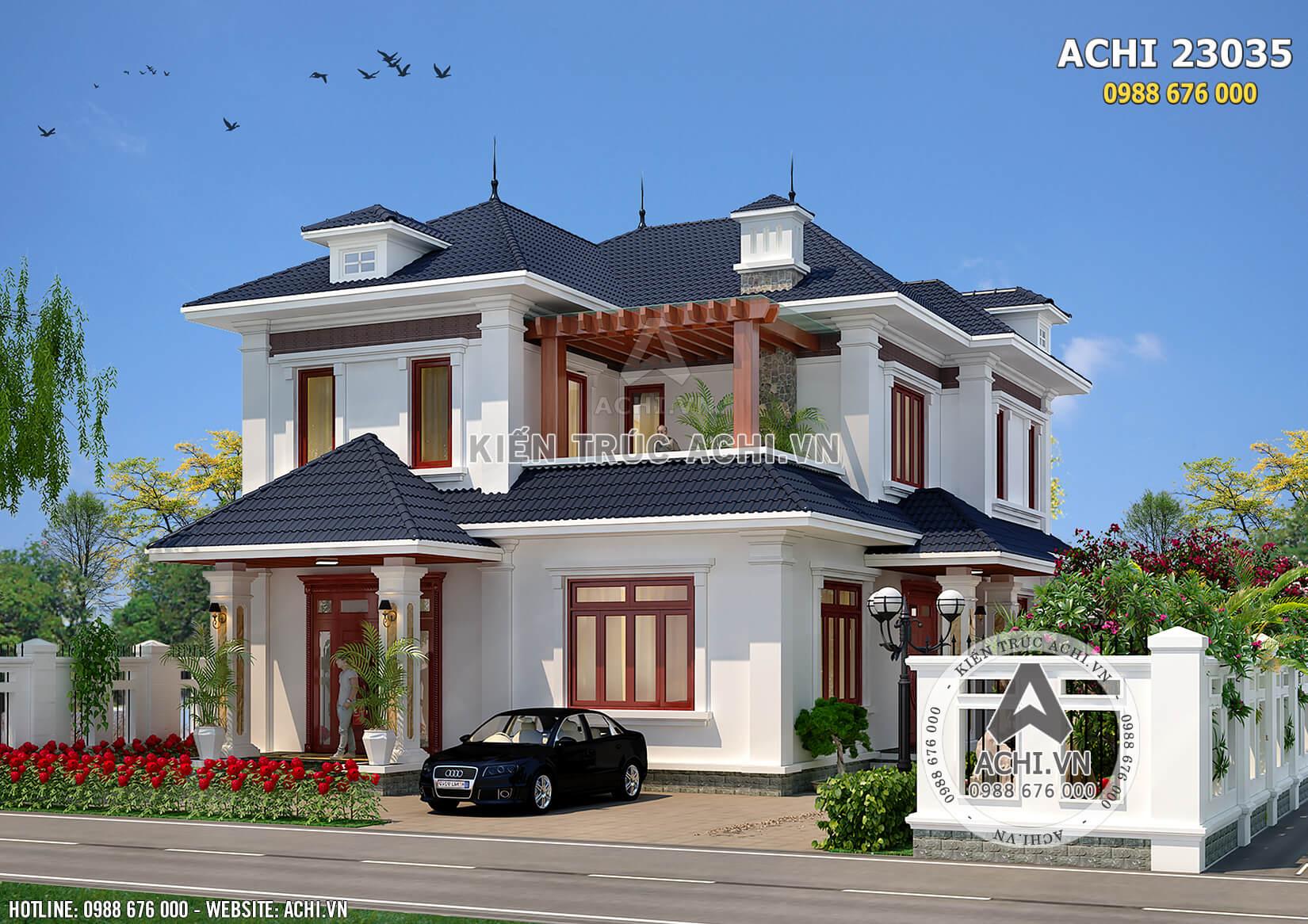 Phối cảnh 3D chi tiết của mẫu biệt thự mái Thái 2 tầng đẹp
