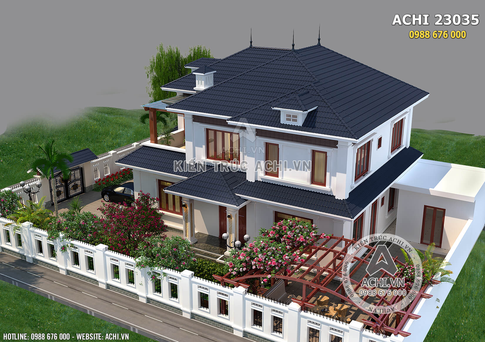 Tổng thể mẫu nhà biệt thự 2 tầng hiện đại mái thái đẹp