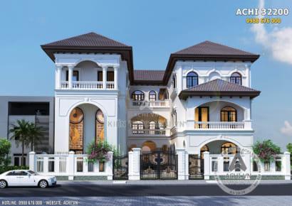 Không gian mặt tiền mẫu biệt thự song lập kiến trúc địa trung hải đẹp tại Sài Gòn - Mã số: AChi 32200