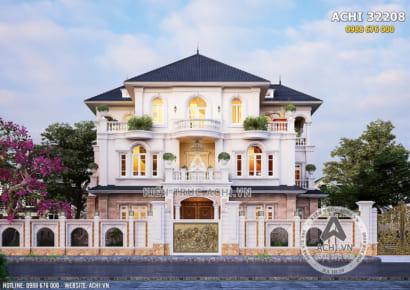 Mặt tiền biệt thự tân cổ điển 3 tầng đẹp sang trọng 200m2