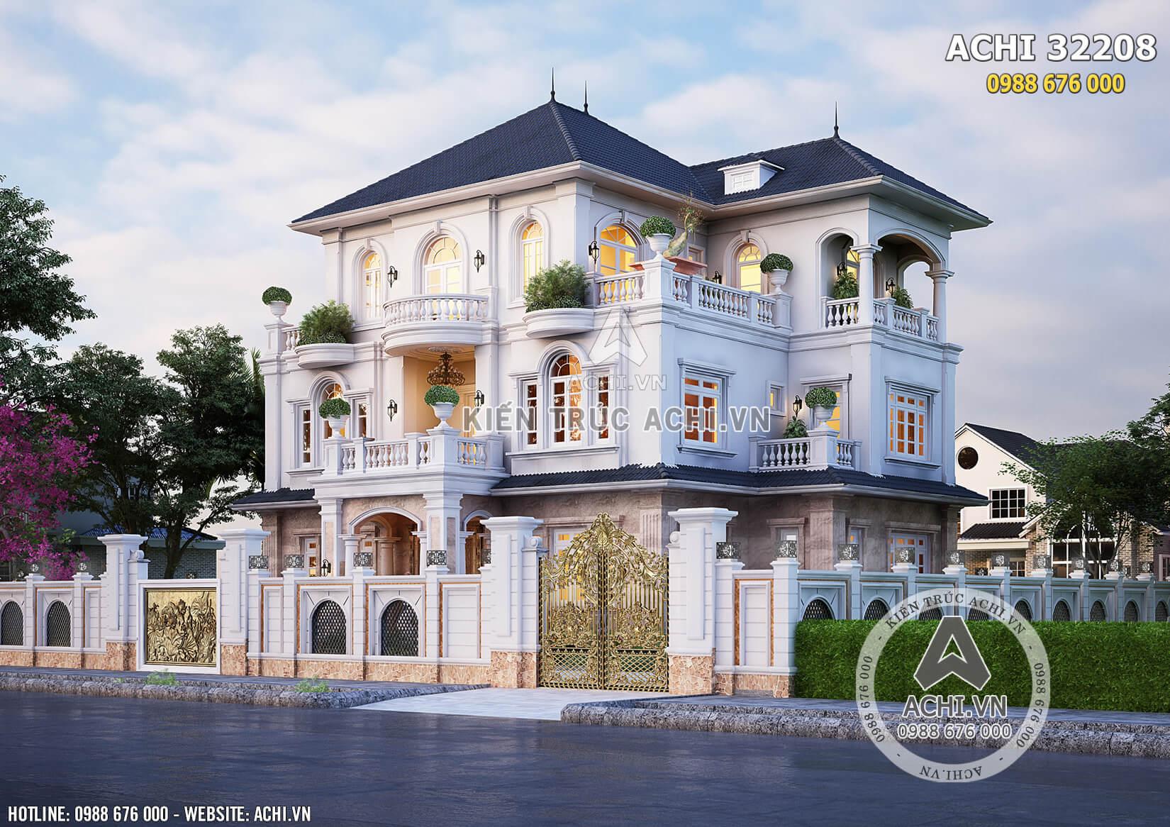 Biệt thự tân cổ điển 3 tầng đẹp sang trọng 220m2 - ACHI 32208