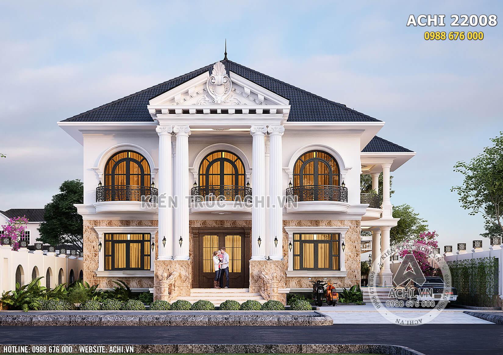 Không gian mặt tiền biệt thự 2 tầng kiến trúc Pháp tân cổ điển tại Quảng Bình