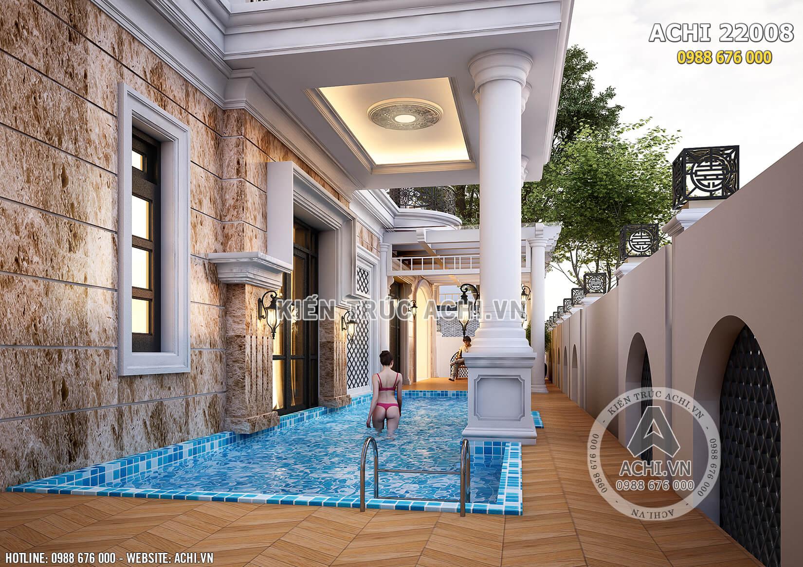 Bể bơi trong nhà đẹp là không gian thư giãn lý tưởng của gia đình