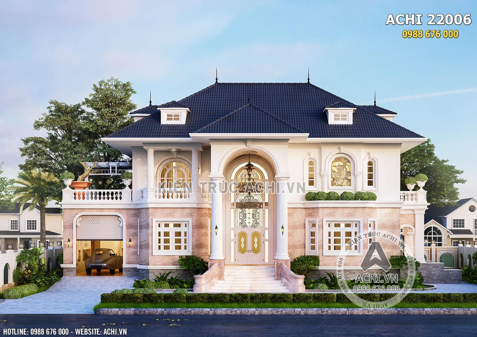 Mẫu biệt thự đẹp 2 tầng tân cổ điển kiến trúc Pháp - ACHI 22006