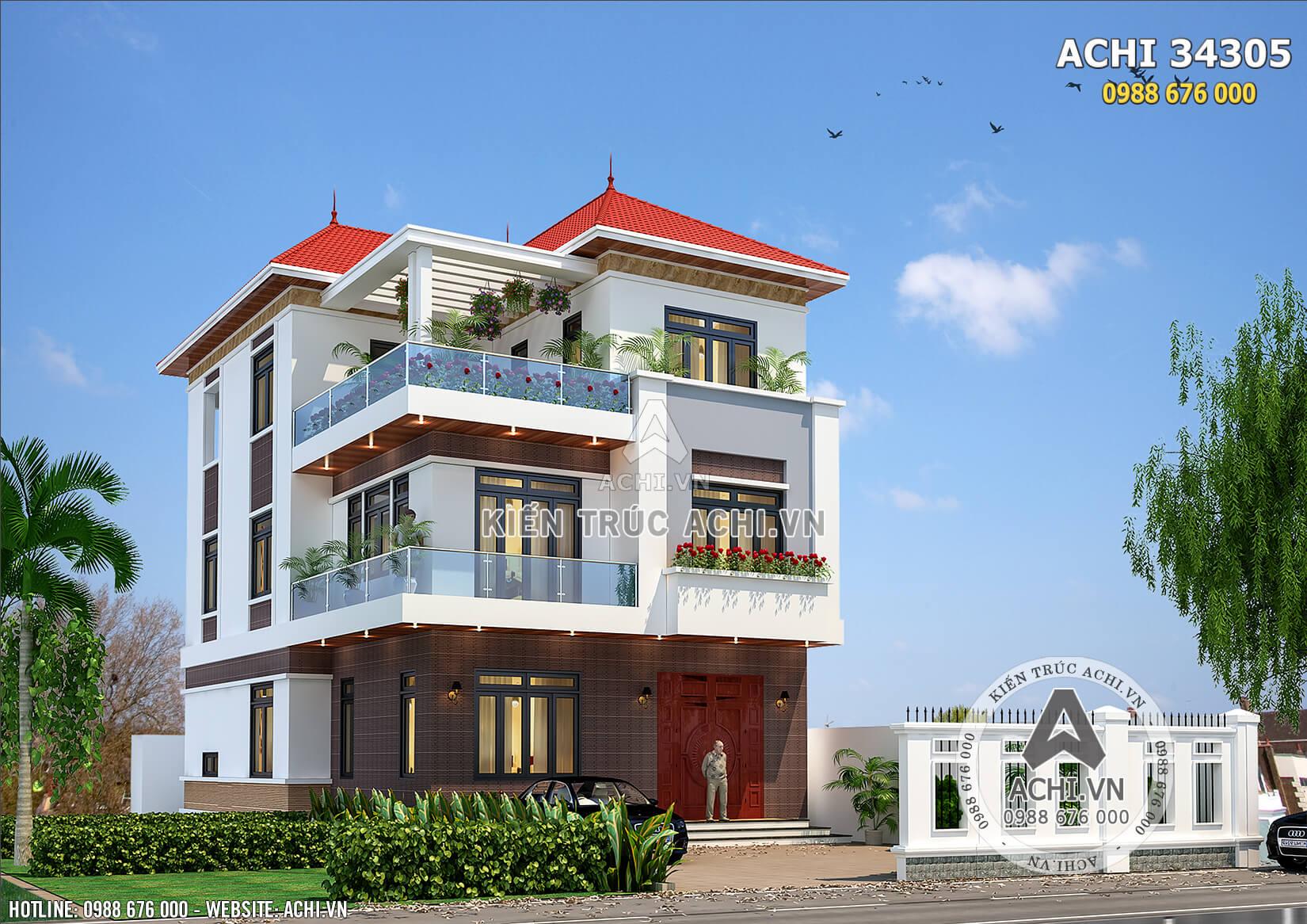Một góc view với kiến trúc hiện đại, đẹp và thu hút của mẫu biệt thự 3 tầng