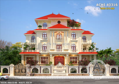 Kiến trúc mặt tiền thu hút của mẫu biệt thự mái Thái mang kiến trúc Pháp đẹp tại Thanh Hoá - Mã số: 43316