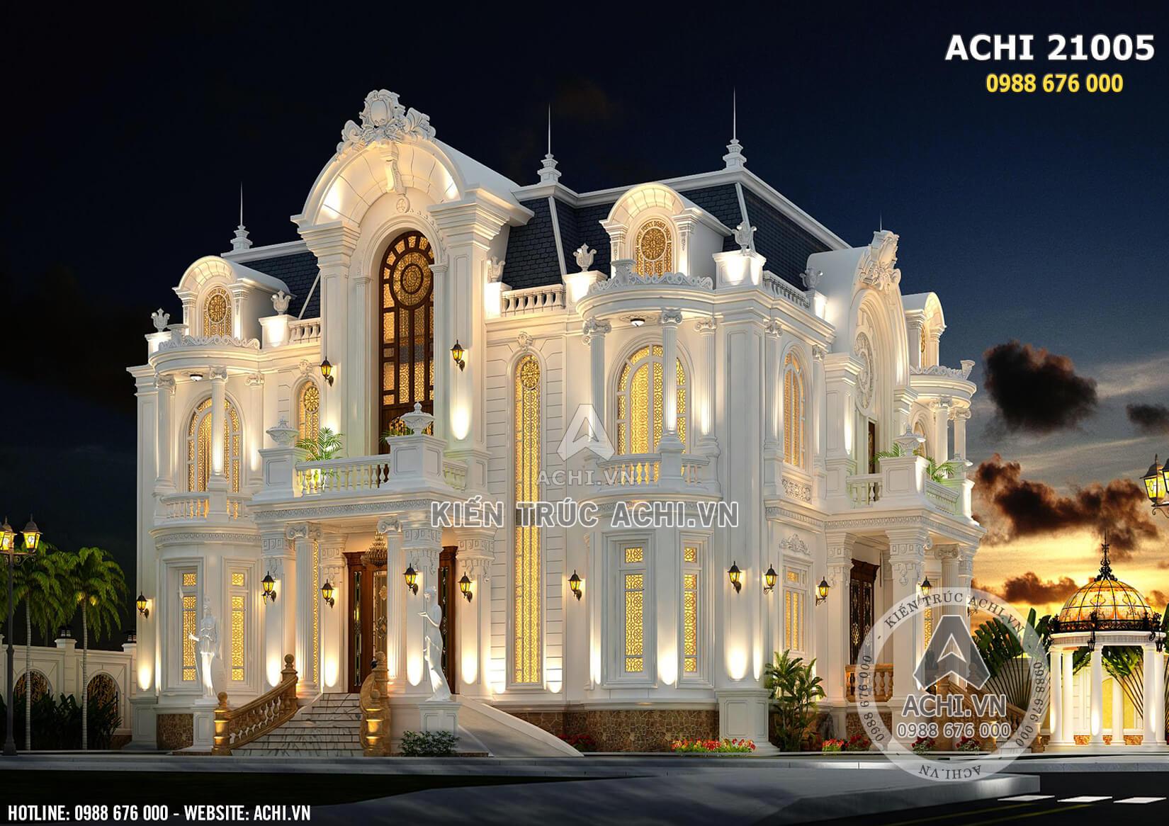 Mẫu biệt thự tân cổ điển 3 tầng đẹp sang trọng - ACHI 21005