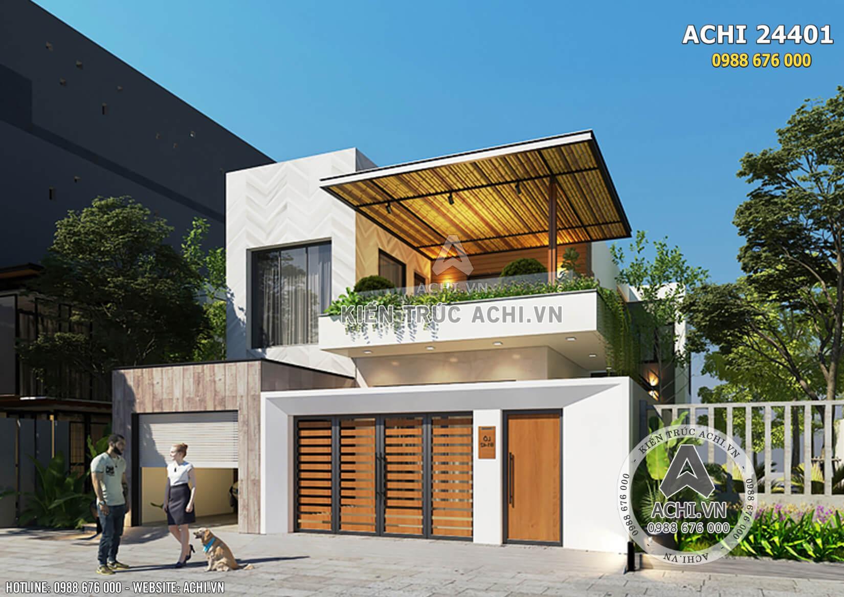 Một góc view của mẫu nhà 2 tầng đẹp hiện đại đẹp độc đáo