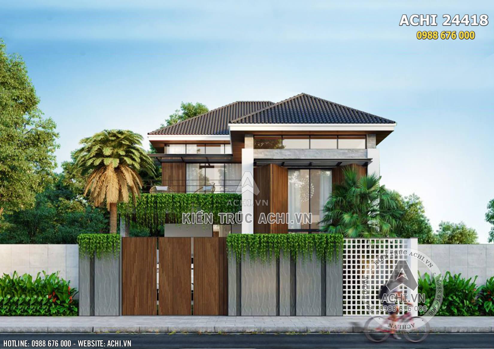 Không gian mặt tiền của mẫu nhà 2 tầng mái Thái hiện đại mặt tiền 10m2 - Mã số: ACHI 24418