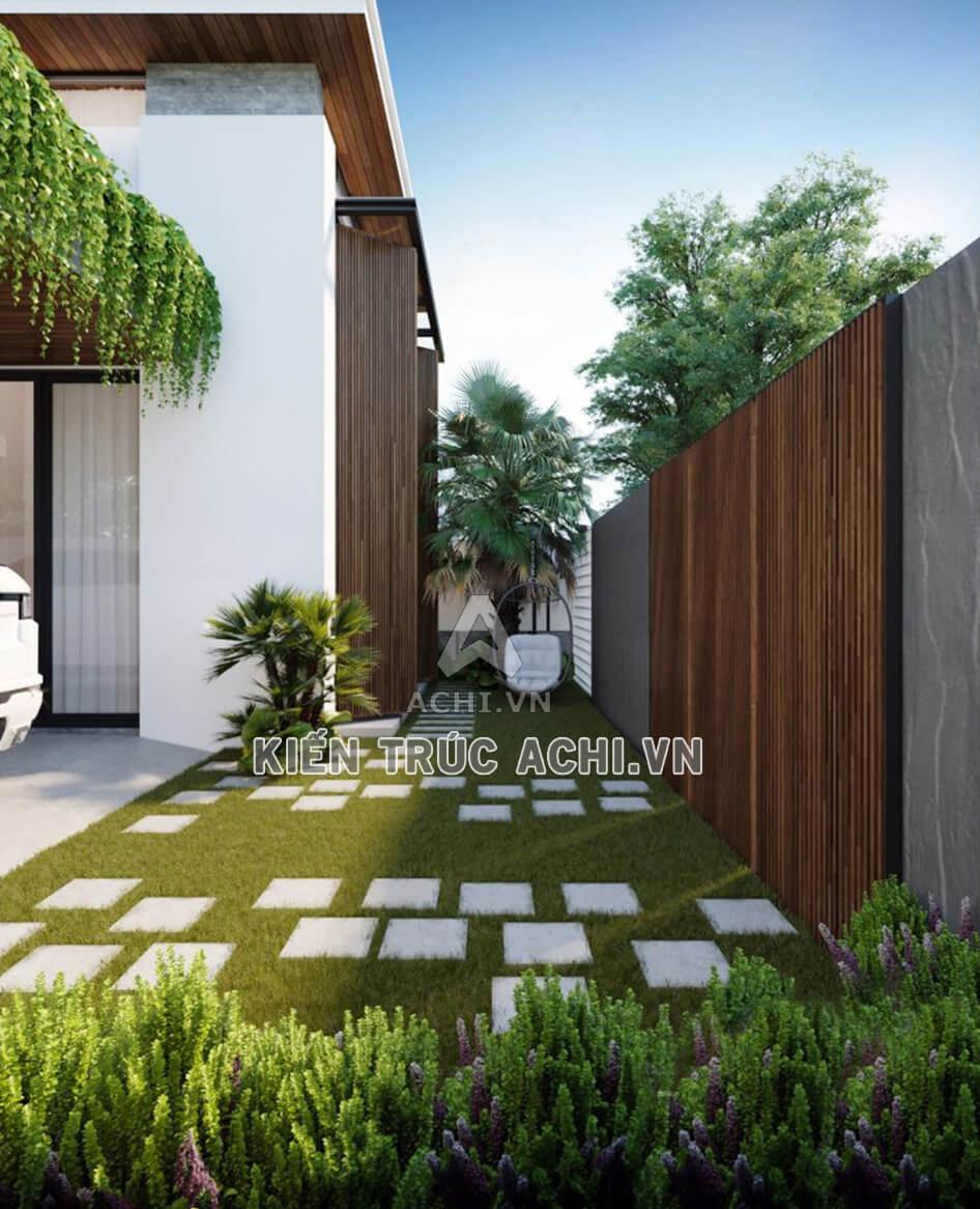 Không gian mảnh vườn nhỏ xinh sau nhà mái Thái 2 tầng