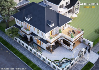 Không gian ngoại thất mẫu nhà 2 tầng tân cổ điển mái Thái đẹp - Mã số: AChi 23013 nhìn từ trên cao xuống