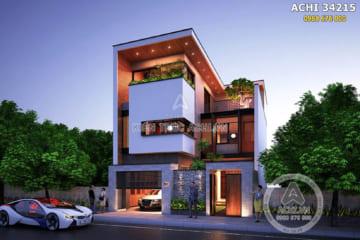 Mẫu nhà 3 tầng đẹp hiện đại mặt tiền 9m – ACHI 34215