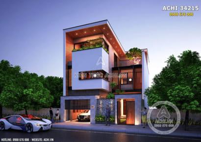 Mẫu nhà 3 tầng đẹp hiện đại mặt tiền 9m - ACHI 34215