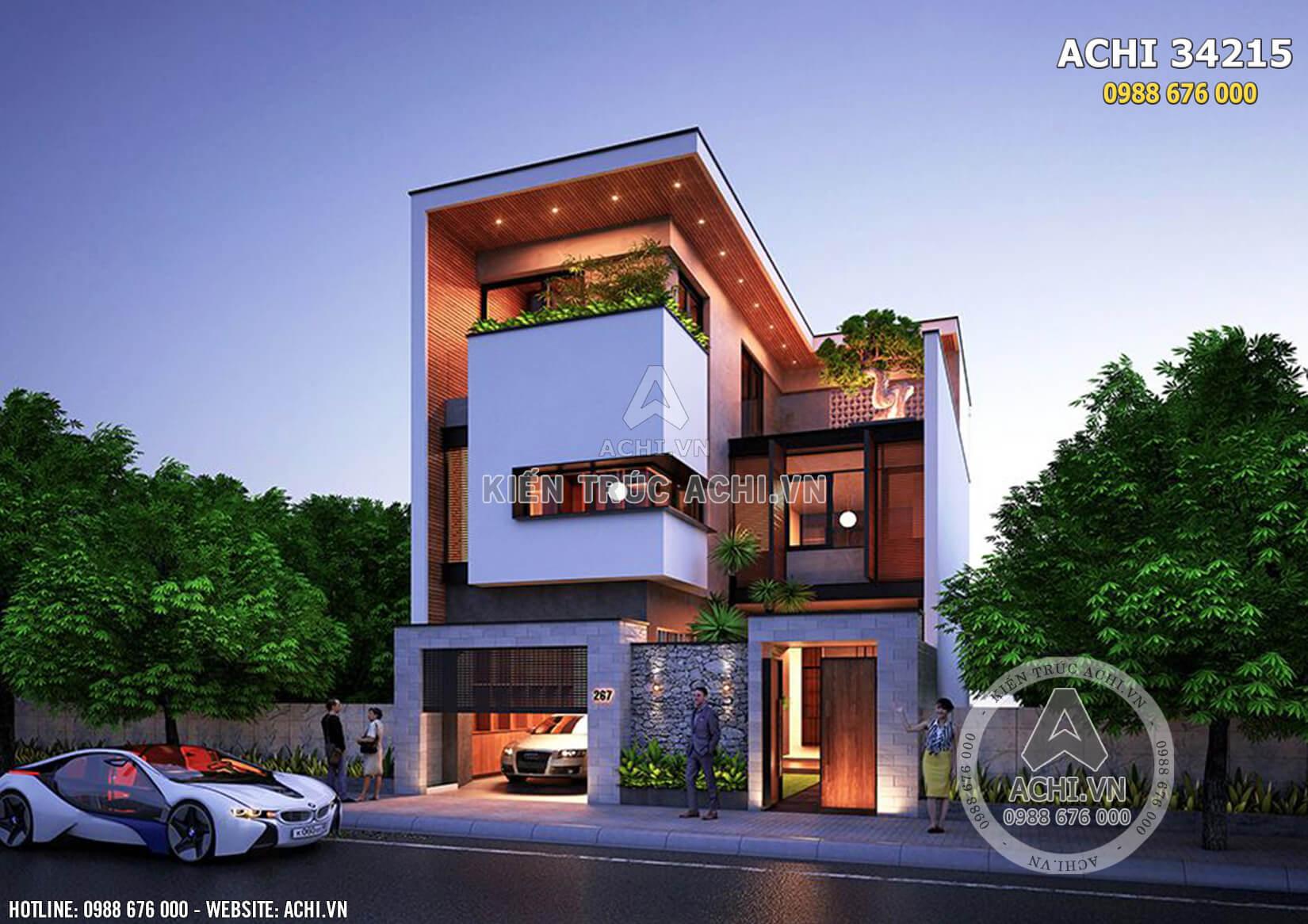Mẫu nhà 3 tầng hiện đại mặt tiền 9m - ACHI 34215
