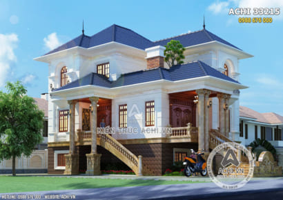 Mẫu nhà 3 tầng tân cổ điển đẹp nhẹ nhàng - ACHI 33215