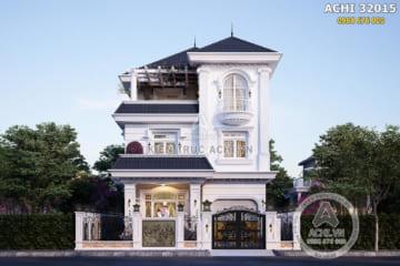 Mẫu nhà biệt thự 3 tầng mặt tiền 10m đẹp – ACHI 32015