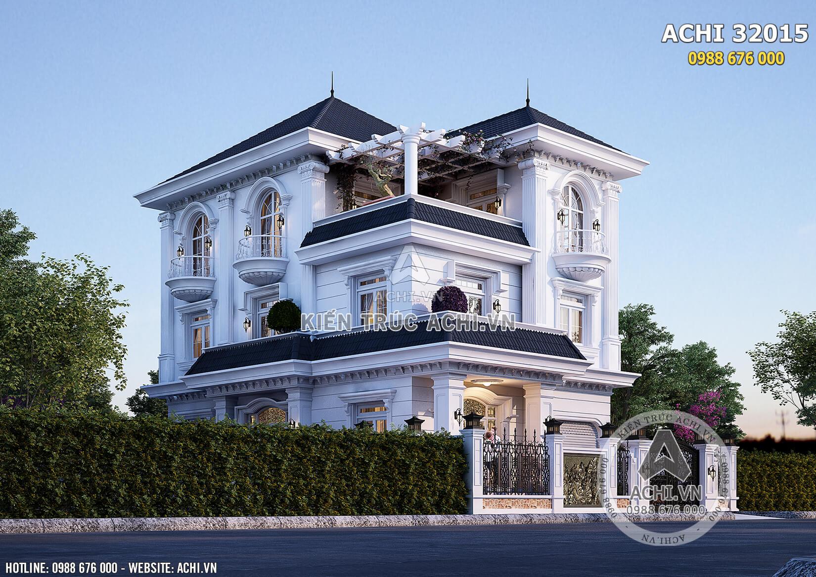 Mẫu nhà biệt thự 3 tầng mặt tiền 10m đẹp - ACHI 32015