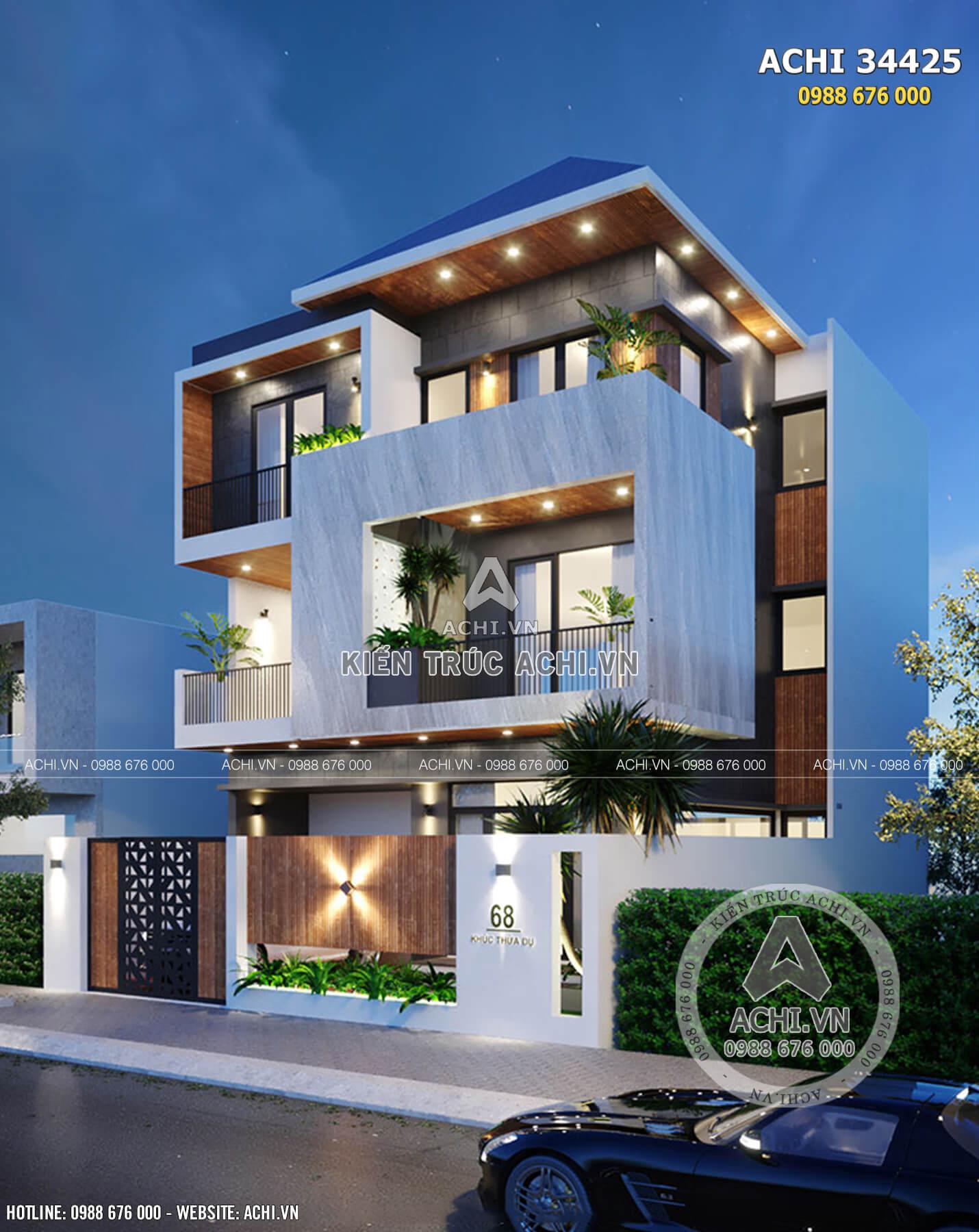 Một góc view của mẫu nhà 3 tầng mái thái hiện đại
