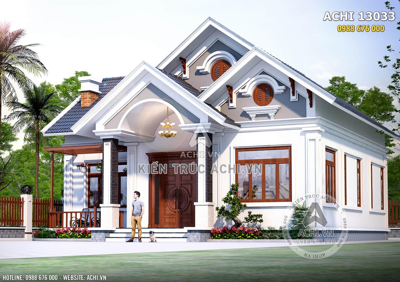 Không gian mặt tiền lôi cuốn của mẫu nhà vườn cấp 4 mái Thái đẹp tại Phú Thọ - Mã số: AChi 13033